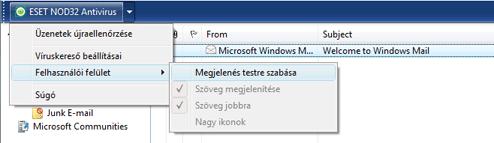 Nod32 ea oe toolbar Outlook Express  és Windows Mail eszköztár