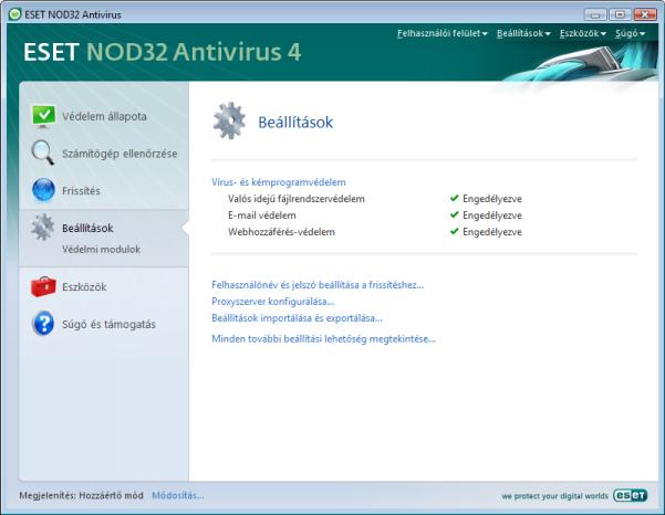 Nod32 ea page advanced settings Beállítások – Hozzáértő mód