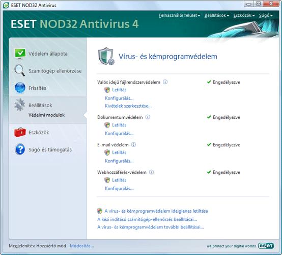 Nod32 ea page settings antivirus Beállítások – Hozzáértő mód