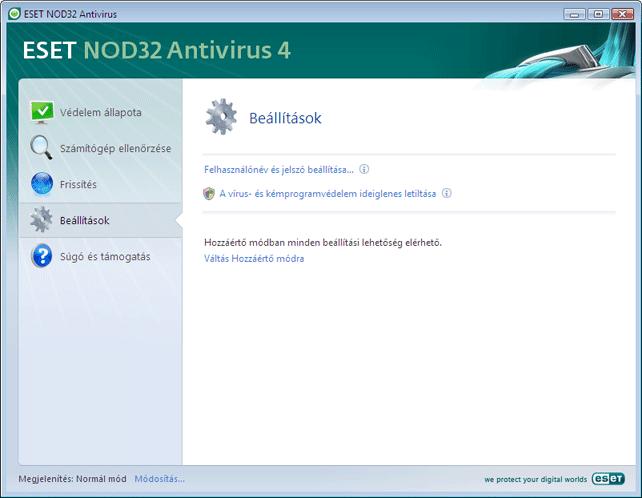 Nod32 ea page simple settings Beállítások – Normál mód