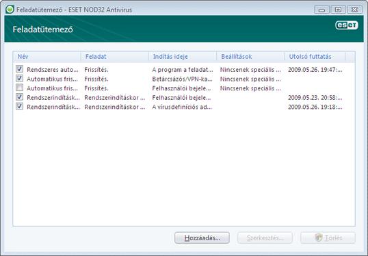 Nod32 ea scheduler window Feladatütemező – új ablak