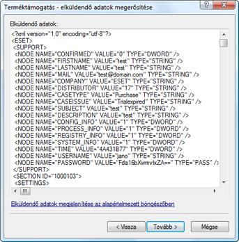 Nod32 ea support detect Elküldendő adatok megjelenítése