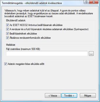 Nod32 ea support send Az elküldendő adatok kiválasztása