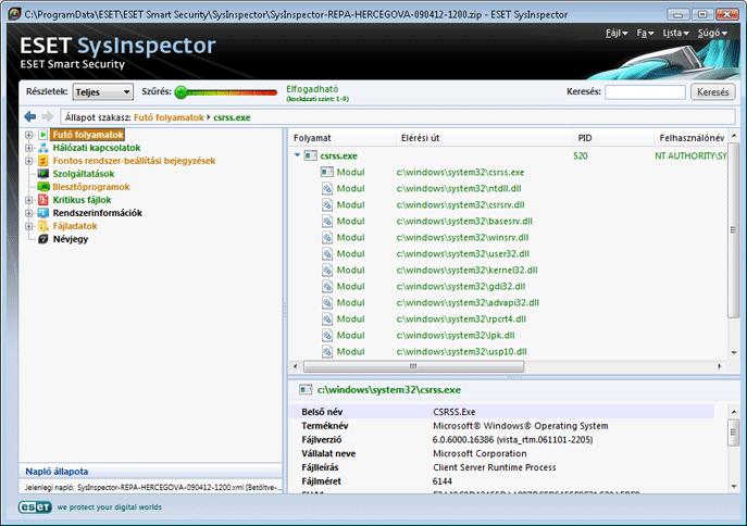 Nod32 sinsp usage A felhasználói felület és az alkalmazás használata