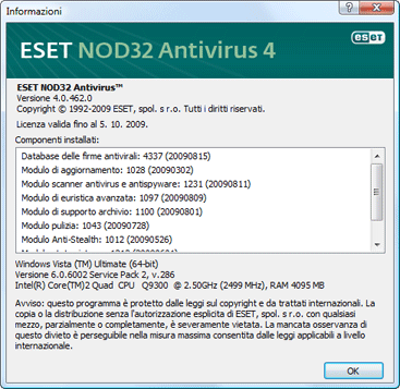 Nod32 ea about Informazioni su ESET NOD32 Antivirus