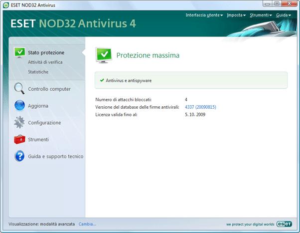 Nod32 ea advanced mode Modalità avanzata