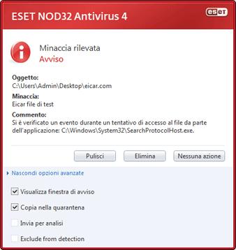 Nod32 ea antivirus behavior and user interaction 01 È stata rilevata uninfiltrazione