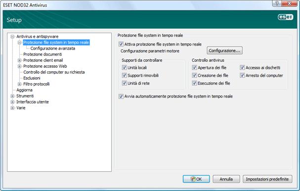 Nod32 ea config amon Protezione file system in tempo reale