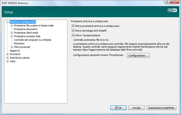 Nod32 ea config antivirus Protezione antivirus e antispyware   Impostazione