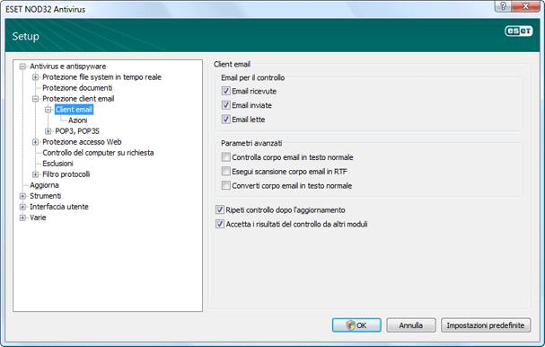Nod32 ea config emon scan Protezione client e mail