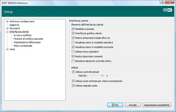 Nod32 ea config environment Interfaccia utente
