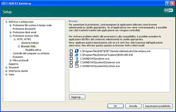 Nod32 ea config epfw browsers Browser