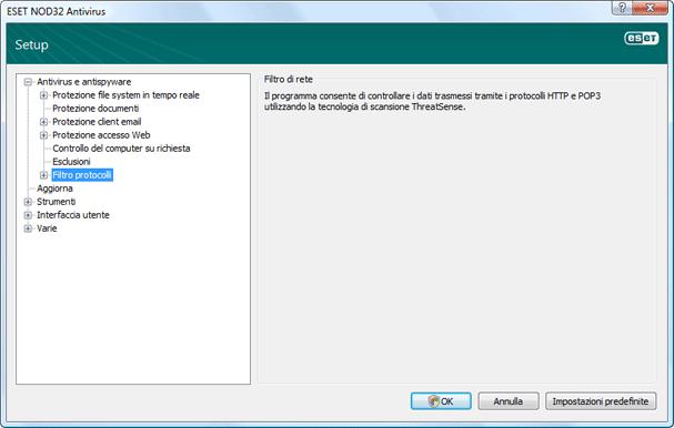 Nod32 ea config epfw scan main page Filtraggio di protocolli