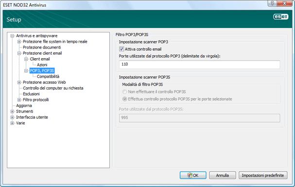 Nod32 ea config epfw scan pop3 Controllo POP3