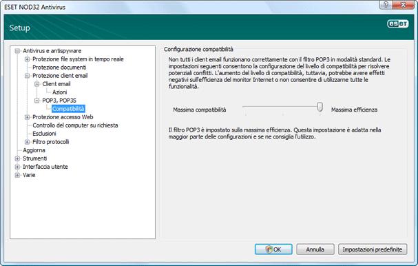 Nod32 ea config epfw scan pop3 comp Compatibilità