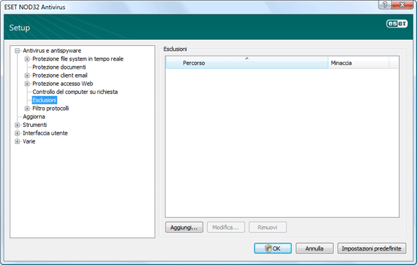Nod32 ea config exclude Escludi