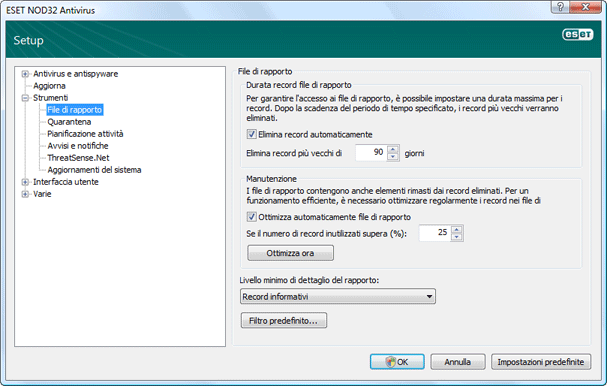 Nod32 ea config logs File di registro
