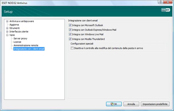 Nod32 ea config mailplugins Integrazione con client e mail