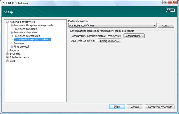 Nod32 ea config scan Scansione del computer su richiesta