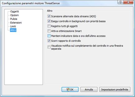 Nod32 ea config scanner scan Impostazione della scansione