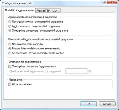 Nod32 ea config update mode Modalità di aggiornamento