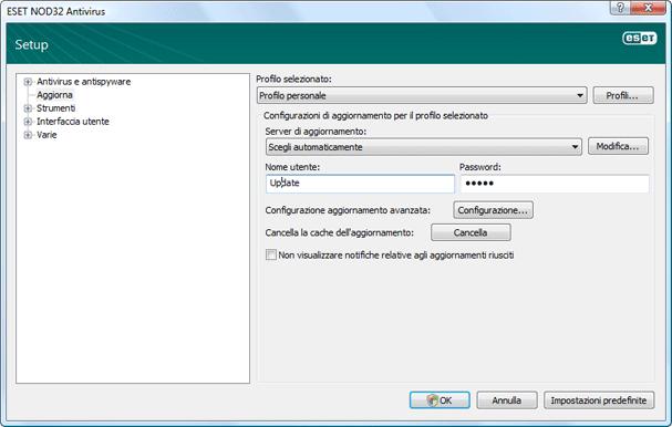 Nod32 ea config update source Impostazione dellaggiornamento