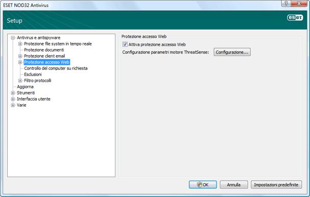 Nod32 ea config web Protezione accesso Web