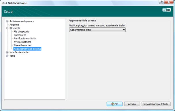 Nod32 ea config windows update Aggiornamento del sistema operativo   Impostazioni