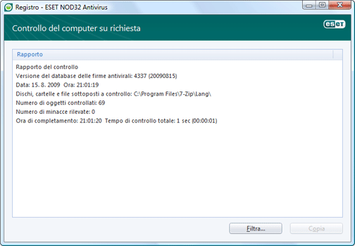 Nod32 ea log window Apri file di registro in una nuova finestra