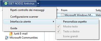 Nod32 ea oe toolbar Barra degli strumenti di Outlook Express e Windows Mail