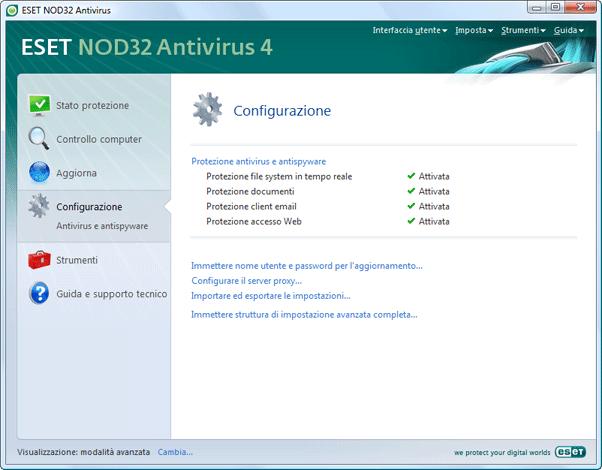Nod32 ea page advanced settings Introduzione allinterfaccia utente