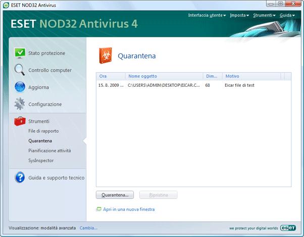 Nod32 ea page quarantine Quarantena