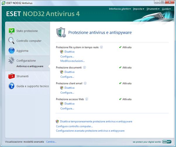 Nod32 ea page settings antivirus Impostazione   Modalità avanzata