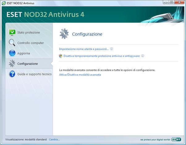 Nod32 ea page simple settings Impostazione   Modalità standard