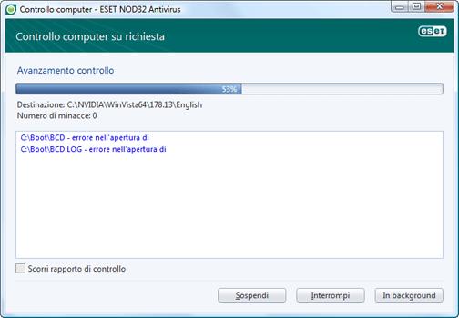 Nod32 ea scan window Scansione computer   finestra