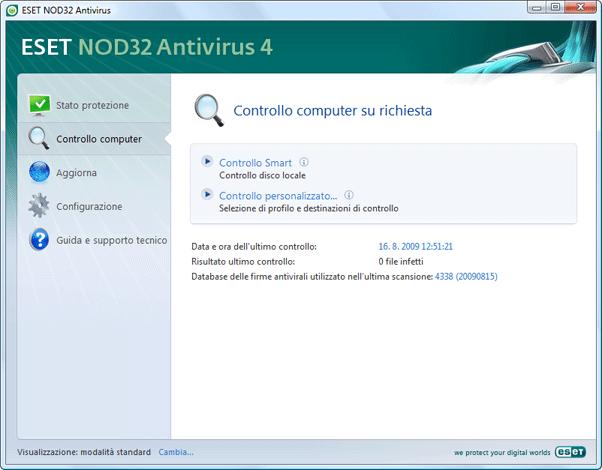 Nod32 ea scanner main Scansione del computer
