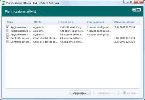 Nod32 ea scheduler window Pianificazione attività   nuova finestra