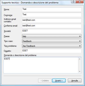 Nod32 ea support request Risoluzione dei problemi