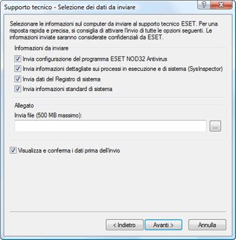 Nod32 ea support send Selezione dei dati da inviare