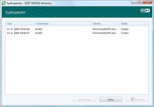Nod32 ea sysinspector window ESET SysInspector   Nuova finestra