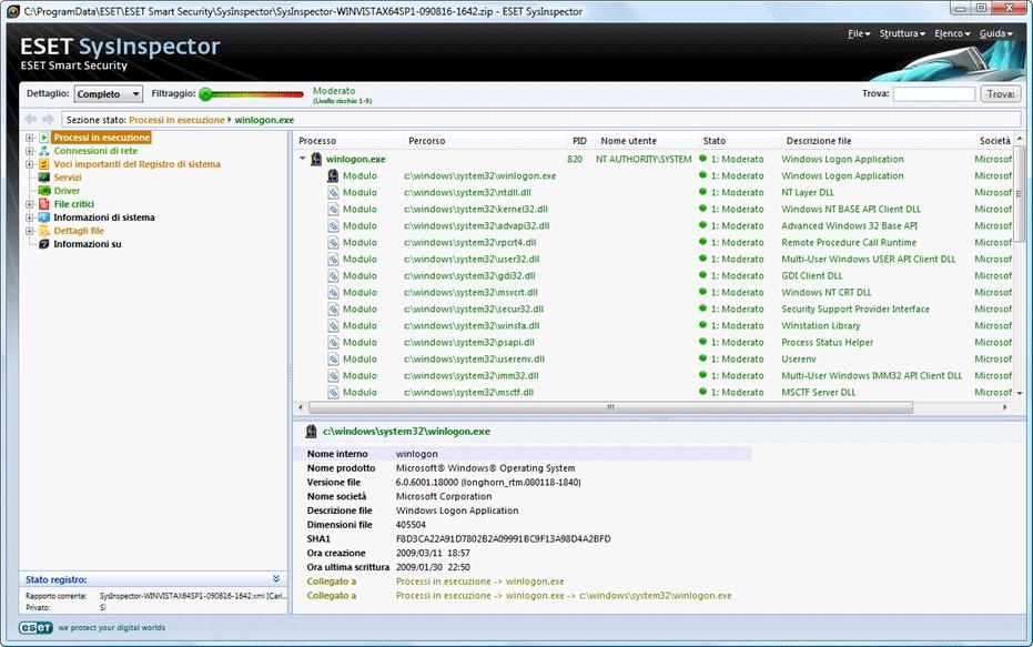 Nod32 sinsp usage Interfaccia utente e utilizzo dellapplicazione