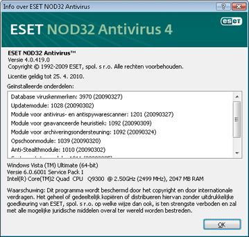 Nod32 ea about Informatie over ESET NOD32 Antivirus