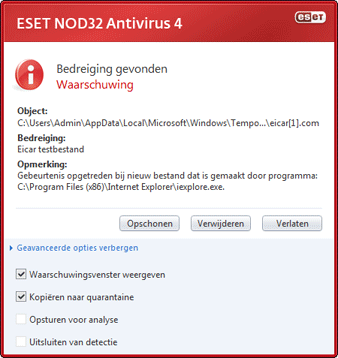 Nod32 ea antivirus behavior and user interaction 01 Antivirusgedrag en gebruikersinteractie