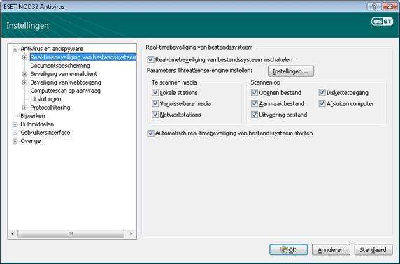 Nod32 ea config amon Te volgen procedure als realtimebeveiliging niet werkt