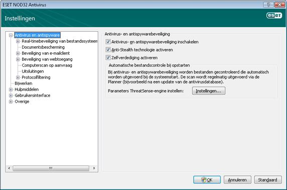 Nod32 ea config antivirus Antivirus  en antispywarebeveiliging   Instellingen