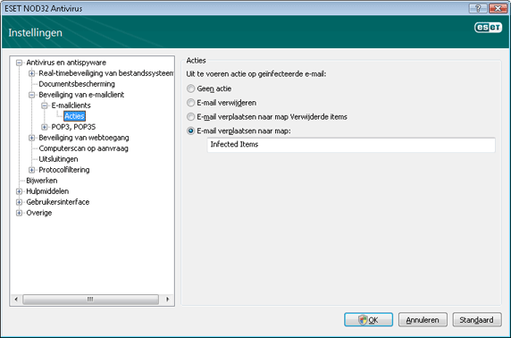 Nod32 ea config emon outlook Acties