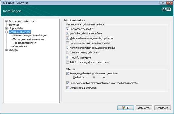 Nod32 ea config environment Gebruikersinterface