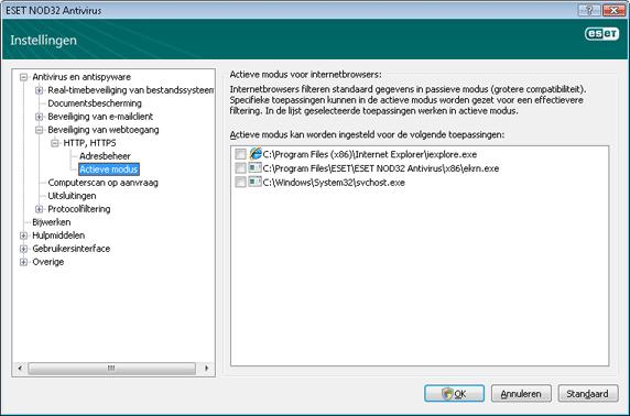 Nod32 ea config epfw browsers mode Actieve modus voor internetbrowsers