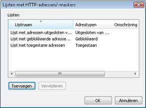 Nod32 ea config epfw new url set Nieuwe lijst maken