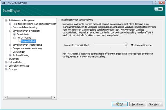 Nod32 ea config epfw scan pop3 comp Compatibiliteit